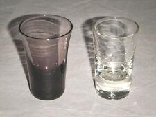 "PAIR FANCY ELEGANT 1 OZ CRYSTAL SHOT GLASSES PURPLE & ETCHED CLEAR 2-3/8"" HIGH"