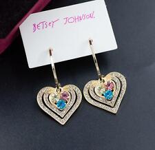 Gold Love Heart Drop Earring Jewel Betsey Johnson rare Alloy Rhinestone Crystal