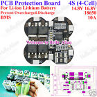 4S 10A Li-ion Lithium Cell 18650 Battery Protection BMS PCB Board 14.8V 16.8V