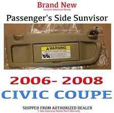 2006-2008 2dr OEM Honda Civic Passenger s Pearl Ivory Sunvisor  83230-SNA-A01ZB badd77b4f18