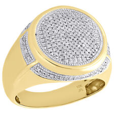 10K Yellow Gold Diamond Statement Pinky Ring Milgrain Dome Tier Pave Band 1/2 CT