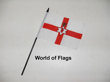 "NORTHERN IRELAND RED HAND of ULSTER SMALL HAND WAVING FLAG 6"" x 4"" Irish Table"