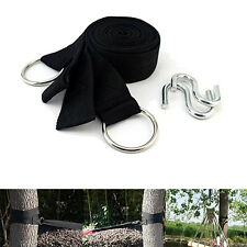 Hammock Tree Strap Nylon Strong Hanging Kit with Hooks for Outdoor Camping Black