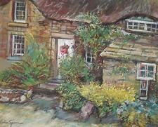Nunez Segura (Spain-Catalan, b1932) Pastel Painting English Country Garden c1980