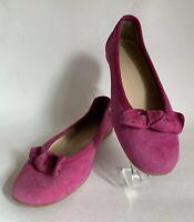 Hobbs Cerise Suede Leather Round Toe Bow Front Ballet Flat Court Shoe UK 4 EU 37