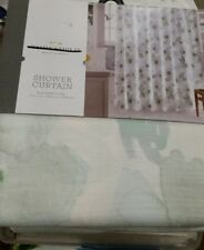 NWT Threshold Blue Green Floral Watercolor Shower Curtain