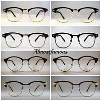 Clubmaster 80s Fashion clear lens glasses classic Black Tortoise Reading Geek