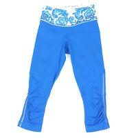LULULEMON VIVID BLUE PAISLEY Ruched Cuff Contrast Panel Leggings size 2 - 0014