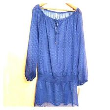 New JONES NEW YORK NY Womens Sz Large Top SHEER DOTTED TUNIC Blue Green 12 - 14