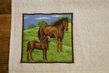 Handmade decorated flannel face cloth 2 brown horses farm