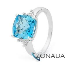Diamond Blue topaz 9k 9ct Solid White Gold Solitaire with Accents Rings
