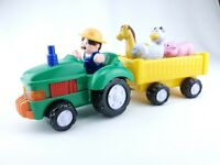 Musical Moving Tractor, Wagon Farmer Playset Animals Noises Navystar Plastic Toy