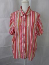 BLAIR women's size XLG multi colored short sleeve cotton poly button down shirt