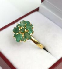 14k Solid Yellow Gold Cluster Ring Natural Emerald Sz 8.5