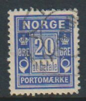 Norway - 1897, 20 ore Ultramarine Postage Due stamp - F/U - SG D99a