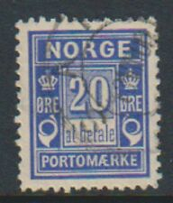 More details for norway - 1897, 20 ore ultramarine postage due stamp - f/u - sg d99a
