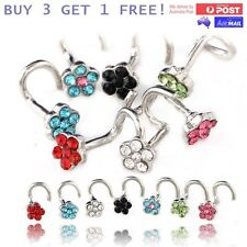 Floral Gem Flower Nose Twist Bar Stud Ring Crystal Small Piercing Jewellery