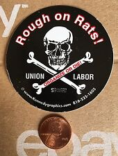 Rough On Rats Organized Labor Union Hard Hat Sticker Decal Skull Organize Or Die
