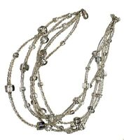 VINTAGE MICRO CLEAR & SILVER BACK CUBE GLASS MULTI STRAND BEADED ARISAN NECKLACE