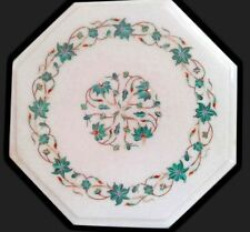 """12"""" Marble side table top pietra dura malachite marquetry handcrafted inlay art"""