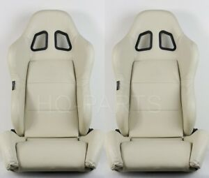 2 X TANAKA BEIGE PVC LEATHER RACING SEATS RECLINABLE + SLIDERS FIT FOR HONDA A