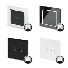 RetroTouch Black White Glass Touch Remote Control Dimmer Light Switch 1 2 Gang