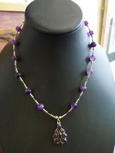 Beautiful classic Amethyst bead & Pendant necklace string 925 silver Festival