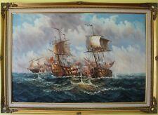 Large  original oil painting on canvas, seascape, Battleship, framed