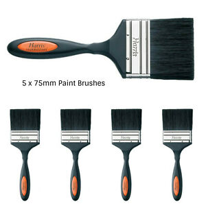 Paint Brushes Harris Bulk 75mm x 5 Synthetic & Natural Wall Painting Brushes