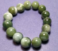 A Jade Jadeite 12mm Green Stretchy Bracelet With Certificate