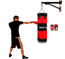 "Heavy Duty 38"" Punching Oxford Boxing Mma Bag empty+ Wall Mount & Chains+ Gloves"