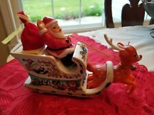 Vintage Santa Claus In Sleigh with Rudolph Motorized Toy - still works!