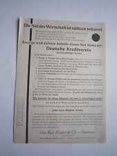 """Werbeblatt """"Deutscher Kreditverein"""" Otto Rud. Reichert & Cie. Hannover, ca. 1925"""