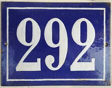 Big blue French house number 292 door gate plate plaque enamel steel metal sign