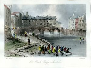 "Vintage tinted W H Bartlett print of ""Old Baal's Bridge, Limerick"", Ireland"