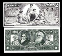 2 Proof Prints or Intaglios by BEP Front & Back of 1896 $2 Educational