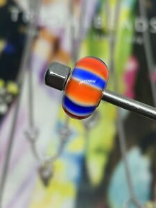 TROLLBEADS RETIRED UK STRIPES GLASS AND SILVER BEAD.