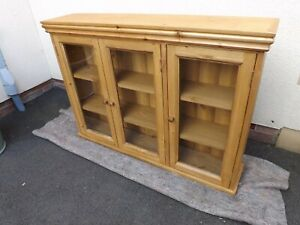 Pine 3 door glazed wall unit made by our own carpenter. 100cm width.