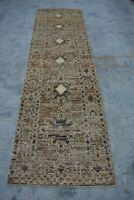 F0 Vintage Handmade Afghan Tribal Gabbeh Hallway Wool Rug Runner/ 2'9 x 9'9 Feet