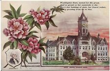 """Rhododendron"" Washington State Flower and Capitol at Olympia Postcard"