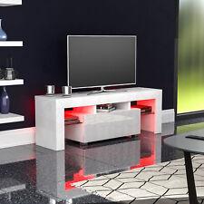Luna LED TV Stand Cabinet Unit 1 Drawer Modern Matte Gloss MDF Furniture White