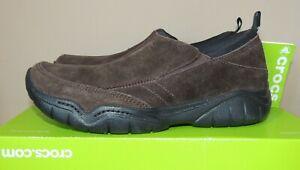 NEW MENS Crocs Swiftwater Suede Leather Moc SlipOn Shoe Espresso Brown 203568 8