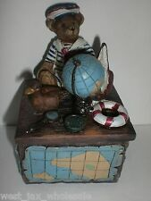 Teddy Bear Sailor Globe Jewelry Trinket Box Hand Crafted New (Lot of 3 Boxes)