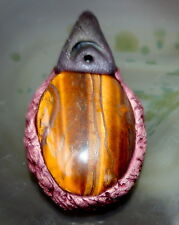 Natural Tiger's Eye Oval Crystal Pendant with Reiki Blessed Symbol for Power
