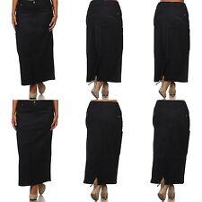Women's Classic Denim Jeans Dark Wash Long Skirts H-Line Stretch Maxi Dress Plus
