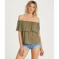 2017 NWT WOMENS BILLABONG SPRING FLING OFF SHOULDER BLOUSE $45 M seagrass shirt