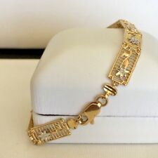 14k Tow Tone Gold Diamond Cut  Filigree Bracelet with Lobster Clasp