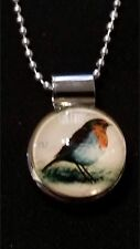 Lovely Colorful Bird Snap, Silver Snap Pendant & 26 inch Chain