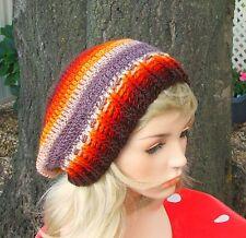 HATS  Hand Made Crochet Orange Red Yellow Winter New Women Slouchy Beanie NEW