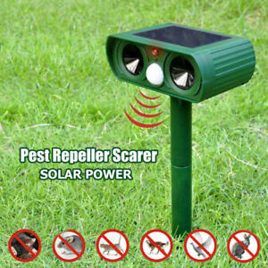 Ultrasonic Animal Repeller Solar Powered Deterrent Dog Cat Pest Scarer Repellent